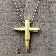 Handmade Polished Brass Bullet Cross Necklace Pendant (Chain Not Included) $20.00