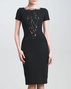 Carolina Herrera Lace-Plunge Crepe Dress - Neiman Marcus