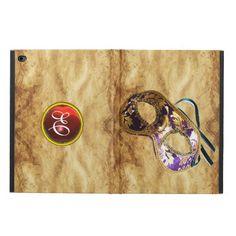 MARDI GRAS MASQUERAD RUBY MONOGRAM,Brown Parchment Powis iPad Air 2 Case