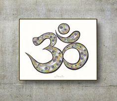 Om Sign Symbol Meditation Original Drawing, Yoga Om Wall Decor, Aum Painting Om Graffiti, Handmade Yoga Om illustration, Energy wall decor by DHANAdesign on Etsy