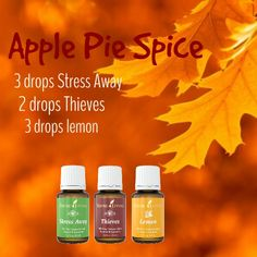 Essential oil Apple Pie Spice Diffuser Recipe: 3 drops Young Living Stress Away, 2 drops Young Living Thieves, 3 drops Young Living Lemon. Essential Oils 101, Essential Oil Diffuser Blends, Young Living Essential Oils, Young Living Thieves Oil, Aromatherapy Oils, Yl Oils, Diffuser Recipes, Just In Case, Osho