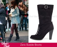 During her visit to New York City back in November, Selena Gomez debuted these cool black Zara Suede Boots. They're actually sold out on Zara's website but we got lucky and found them on eBay in a size 10 for $30!!! What a steal!  Buy them HERE  She wore these boots with a Wildfox top, Dream Out Loud Jeans, Free People Jacket and  Go Jane Clutch