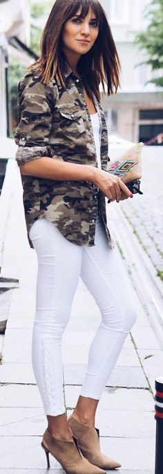 #spring #summer #street #style #outfitideas |Camo Shirt + White + Nude Suede Booties                                                                             Source
