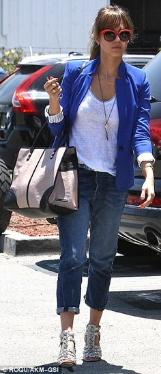Jessica Alba wearing Balenciaga Studded Wedge Sandals in White, Jennifer Meyer Personalized Nameplate Necklace, Rebecca Minkoff Sienna Bag in Cream, Reese + Riley Ex Boyfriend Blazer in Cobalt Blue and Coach Casey Hc8047 Two Tone Wayfarer Sunglasses.