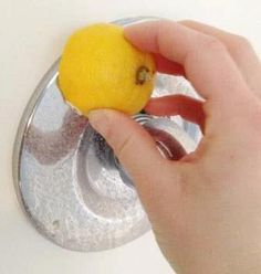 Remove hard water stains from faucets by rubbing half a lemon on the fixture. Then rinse!