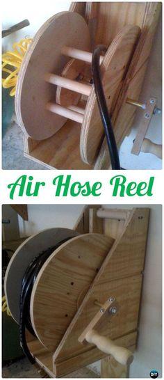 DIY Air Hose Reel - Wood Wire Spool Recycle Ideas #Garden