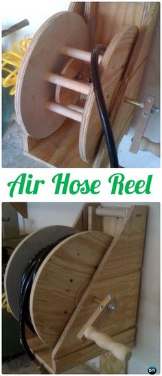 DIY Air Hose Reel - Wood Wire Spool Recycle Ideas #Garden