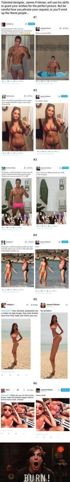 Graphic designer trolls people who ask for their pics to be Photoshopped in the best way