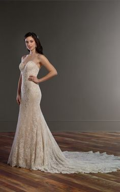 857 Lace Column Wedding Dress by Martina Liana