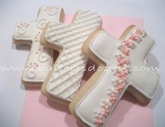 Christening - Baptism- Cross Cookie Party Favors - Baby Boy or Baby Girl… Baby Cookies, Flower Cookies, Baby Shower Cookies, Easter Cookies, Cupcake Cookies, Cookie Bouquet, Summer Cookies, Heart Cookies, Valentine Cookies