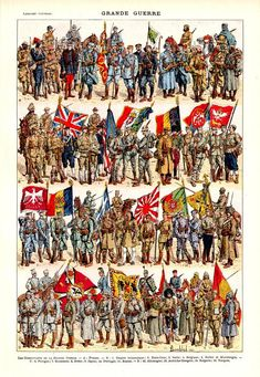 Original French War Uniform Flags Weapons Lithograph from