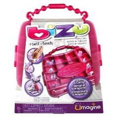 Bizu Storage by Spin Master. $8.59. Store and carry. Bizu carrying case. Includes beads for one bracelet. Age 6+. Bizu, twist on beads, carrying case.  This case is designed especially for your Bizu collection, and keeps charms neatly arranged and easily portable.  Age 6+