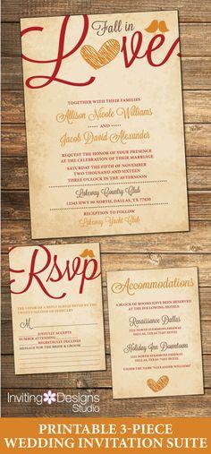 Fall Wedding Invitation Autumn Wedding by InvitingDesignStudio