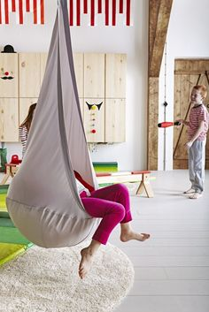 The EKORRE hanging seat swings and also provides a sheltered spot for kids to read, listen to music or just relax.
