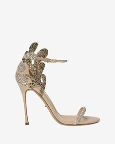 Sergio Rossi Matisse Crystal Embellished Suede Stiletto Sandal: An ornate crystal embellishment lends these 4 stiletto sandals an over the top glam. Adjustable ankle strap. Leather lining and sole. In sand.  Made in ...