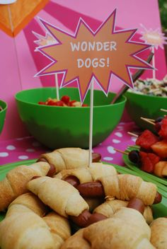 Wonder dogs! Here's an easy recipe. Ingredients are hotdogs or sausages and frozen crescent rolls. http://allrecipesbest.blogspot.com/2009/12/crescent-hot-dogs-recipe.html