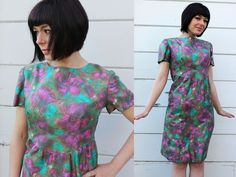 1960s TULIP DRESS silk floral cocktail  $56.00