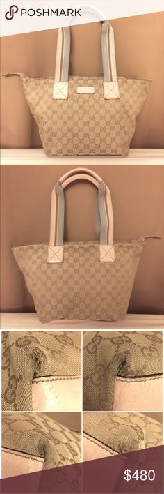 Gucci Canvas Zipper Tote Medium Shoulder Bag Authentic Gucci Bag. Cream Gucci signature canvas with light pink leather combination. Some normal wear on the handles and bottom corners. No rips, no visible stains. Leather bottom. Lined interior with super pocket. No dust bag. Trade value $600. OFFERS WELCOME ! Gucci Bags Shoulder Bags