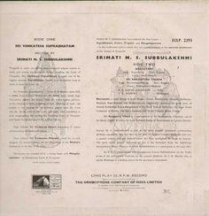 M.S. Subbulakshmi Bollywood Vinyl LP