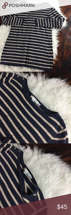 Boden striped button shoulder sweater Great condition Boden striped button shoulder sweater. Lightweight and tunic style length. Full length sleeve. Cotton, viscose, nylon, cashmere blend. Gentle machine wash. Boden Sweaters Crew & Scoop Necks