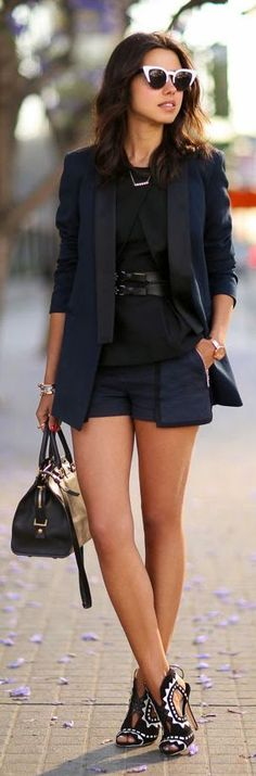 L.a.m.b. Black Side Pockets Tailored Shorts by Vivaluxury