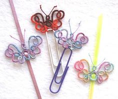 Paper clip for the month - Butterflies  - click on the link for the pattern at Georgia's Online Tatting Class. This is a simple and quick on...