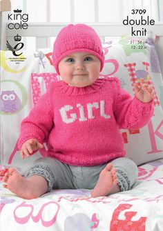 Babies Sweater and Matching Hat in a Glowing Pink - King Cole