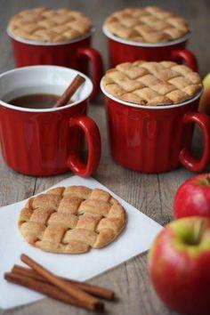 Apple cider with cinnamon sugar cookies that look like pie
