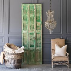 Cool set of two vintage shutters in a distressed kelly green paint finish, with bare pine wood showing through in front. Reverse is similar, but with more exposed wood and a paler, sun-faded color. Features cool original hardware and a pretty textural surface. Wonderful wall piece for a garden or patio. Please note: not a complete set.    • 99H x 33W x 2D  • Kelly Green  • Circa: 1940
