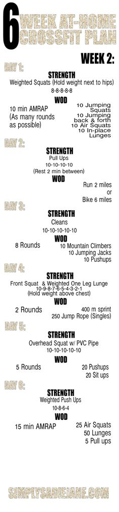 6 week AT-HOME CrossFit INSPIRED workout plan! good for starting others on their Crossfit journey! Reto Fitness, Tips Fitness, Sport Fitness, Fitness Motivation, Health Fitness, Fitness Plan, Yoga Fitness, Fitness Workouts, Fitness Equipment