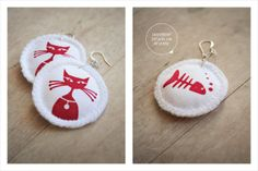 Handprinted whimsical cat earrings on 100% cotton fabric - Whiskers by Doeksisters