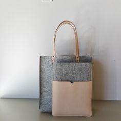 "Grey felt & leather shopper and Grey felt & leather 13"" MacBook Air sleeve handmade in by gitte studio NL"