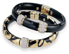 Soho enamel & diamonds  Gold collection Black Enamel, Black Gold, Bangle Bracelets, Bangles, Diamonds And Gold, Arm Party, Soho, Jewelry Stores, Romance