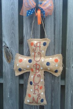 Handmade Handpainted Burlap Cross Door by shabbyandsuchdesigns