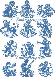 Cross stitch cherubs set