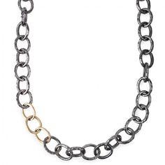 Annie Fensterstock - Hammered Chain with Gold Links (Blacken Silver/Gold) - Hirshleifers #ILOVEHIRSHLEIFERS