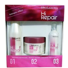 Salerm Hi Repair System by Salerm. $58.95. Salerm Hi Repair System  Hi Repair Shampoo 250 ml. (Step 01) Effective hair repair. The first step in the Salerm Treatment, clean and cares for badly treated, damaged hair. Built-in cationic conditioners which lengthen hydrating effects. Follow the three steps of the treatment for a thorough and long-lasting effect.  Mask Hi repair 250 ml. (Step 02) Effective hair repair. The second step in the Salerm treatment. Nourishes the hair deep ...