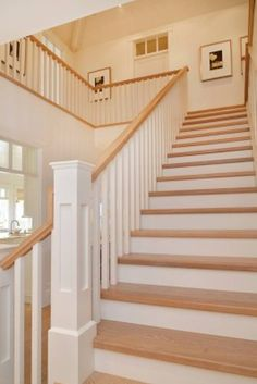 Coastal cottage home with a modern twist in British Columbia - Seaglass Cottage-Sunshine Coast Home Kindesign - Oak Stairs, Wood Staircase, Modern Staircase, House Stairs, Staircase Design, Staircase Ideas, Stairs In Homes, Cottage Staircase, Stair Design