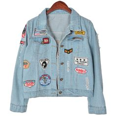 Chicnova Fashion Distressed Denim Jacket (£16) ❤ liked on Polyvore featuring outerwear, jackets, blue jackets, patch jacket, distressed denim jacket and distressed jacket