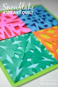 A Kids Art Quilt Full of Paper Snowflakes - B-Inspired Mama #kids #kidsart #art #artproject #kidsactivities #artwork #kidsactivity #kbn #kbnmoms #binspiredmama