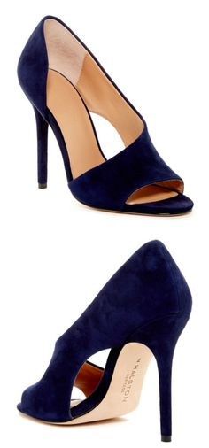 Navy Suede Pumps from Halston. INCREDIBLE price!! Love these <3