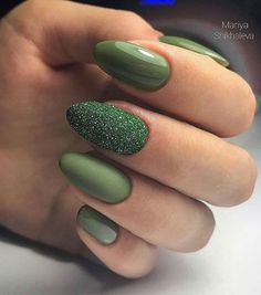 30 Outstanding Emerald Green Nails Art Designs For You Emerald Different Nail Designs Together;Emerald Green Nails;Long Emerald Green Nails; Green Nail Designs, Different Nail Designs, Nail Polish Designs, Nail Art Designs, Nails Design, Oval Nails, Matte Nails, Acrylic Nails, Glitter Nails