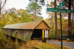 The Concord Road Covered Bridge crosses Nickajack Creek in Smyrna, GA in metro Atlanta. Built in 1872, the bridge is 131 feet long and 16 feet wide and is still open to traffic.