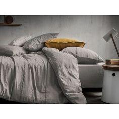 Housse de couette - métis lin et coton - gris avec rayures tissées BLANC CERISE