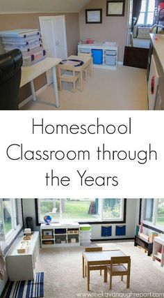 Evolution of Our Homeschool Classroom Play Spaces, Learning Spaces, Kid Spaces, Montessori Classroom, Christian Kids, Kid Desk, Home Desk, Kids Learning Activities, First Grade