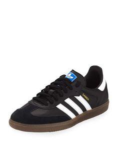 8238db08101e Samba Original Leather Suede Sneakers Black White