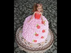Barbie doll cake - how to decorate easily. Please watch: How to make Flamingo Cookies - Fancy Flamingo Cookie Bouquet . --~-- A beginners guide to a Barbie doll cake, done with 1 box of cake mix! If you are planning on making a doll cake here is a deta Barbie Doll Birthday Cake, Barbie Cake, Barbie Party, Barbie Dress, Red Dolls, Themed Birthday Cakes, Dress Cake, Cake Tutorial, Doll Tutorial