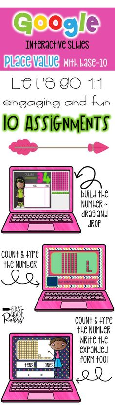 This fun resource will allow your students to practice PLACE VALUE & WHILE WORKING ON TEN'S AND ONES on Google Slides. This is a perfect way to engage your students, assess their understanding and do it all PAPERLESS! If you school is going 1:1, this will be a perfect addition with activities you can use in your own classroom. n this product you will receive 10 different assignments that you can share. I use these during my math rotations. The students are given the assignment in Google…