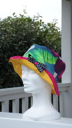 chapeau de soleil d'été enfant fillette coton lin'eva création rose et jaune