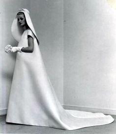 Single-seam wedding gown by Cristóbal Balenciaga, 1967